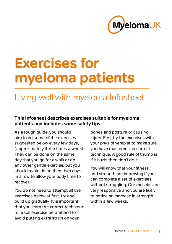 Exercises for myeloma patients Infosheet