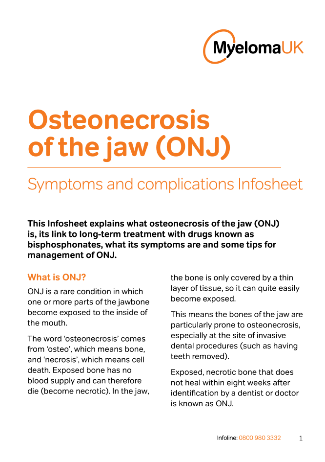 Osteonecrosis of the jaw Infosheet