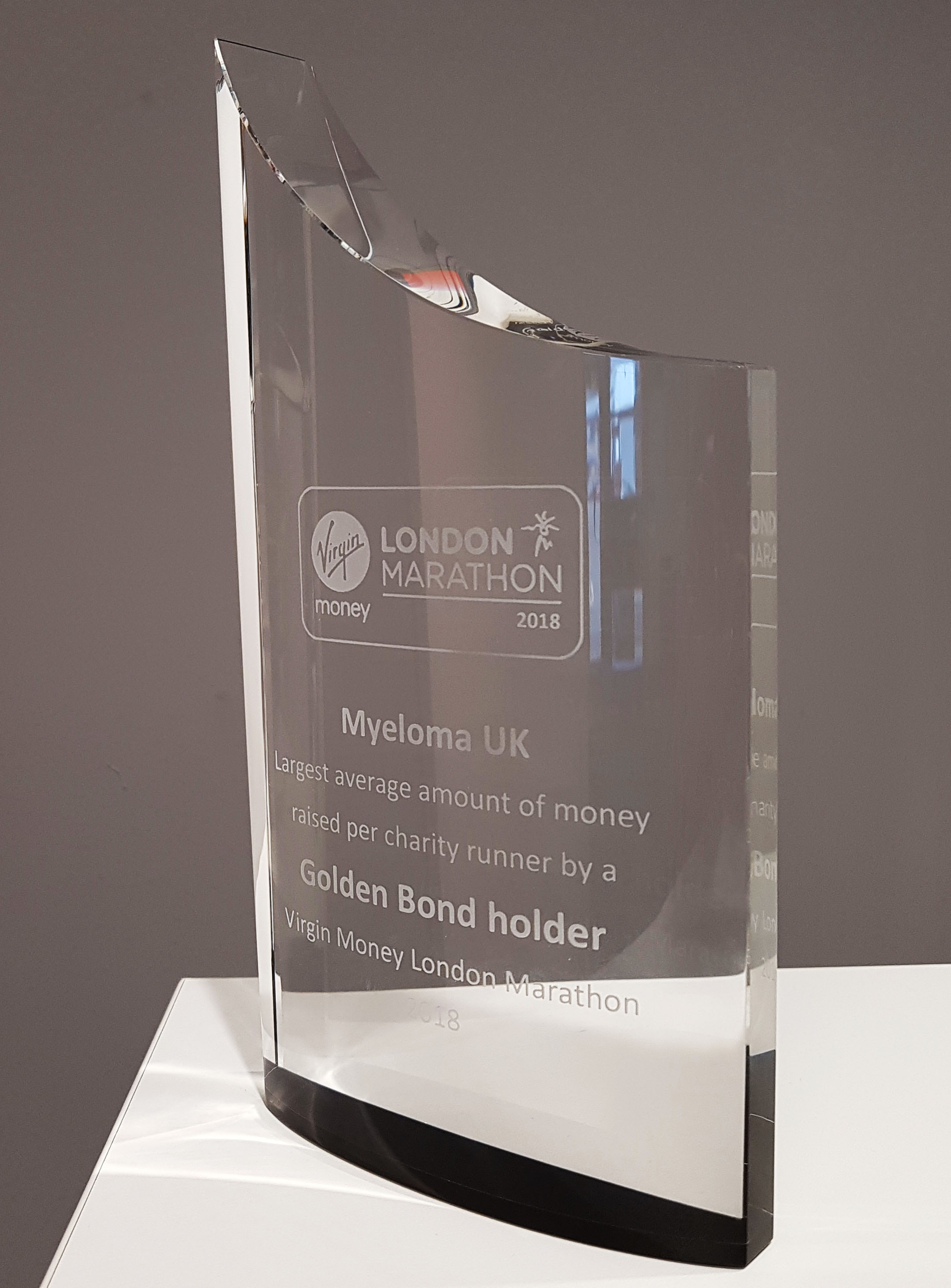 Myeloma UK London Marathon Gold Bond holder award