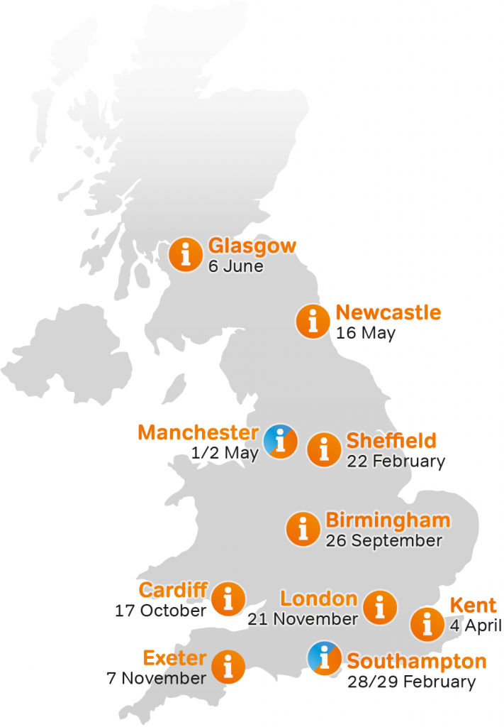 Map with Myeloma UK Patient and Family Event dates