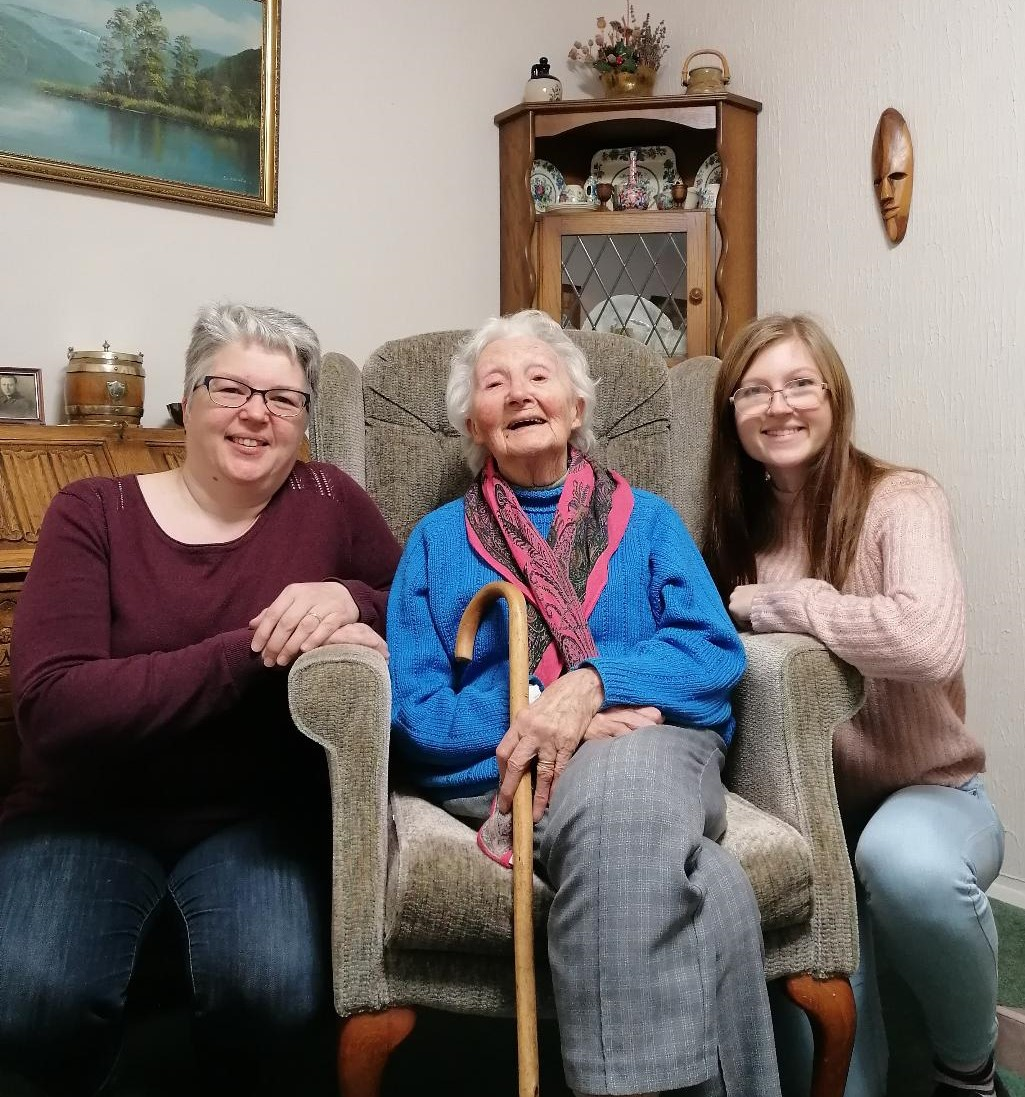 Dorothy with Julia and Amy fundraising in memory Myeloma UK